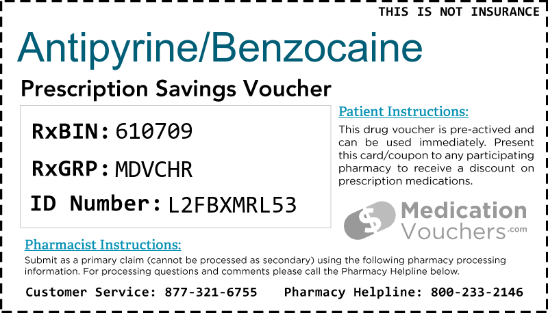 ANTIPYRINE/BENZOCAINE Voucher Coupon