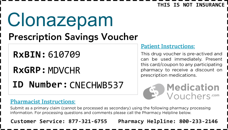 CLONAZEPAM Voucher Coupon