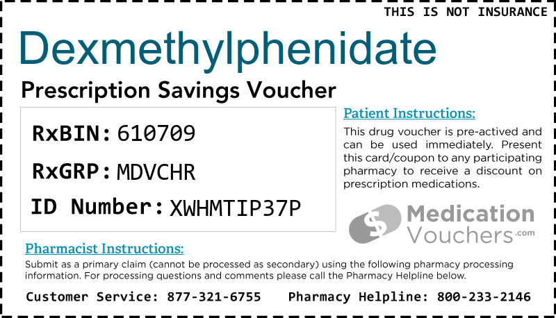 DEXMETHYLPHENIDATE Voucher Coupon
