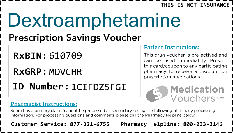 DEXTROAMPHETAMINE Voucher Coupon