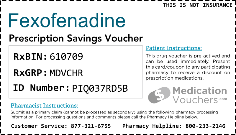 FEXOFENADINE Voucher Coupon