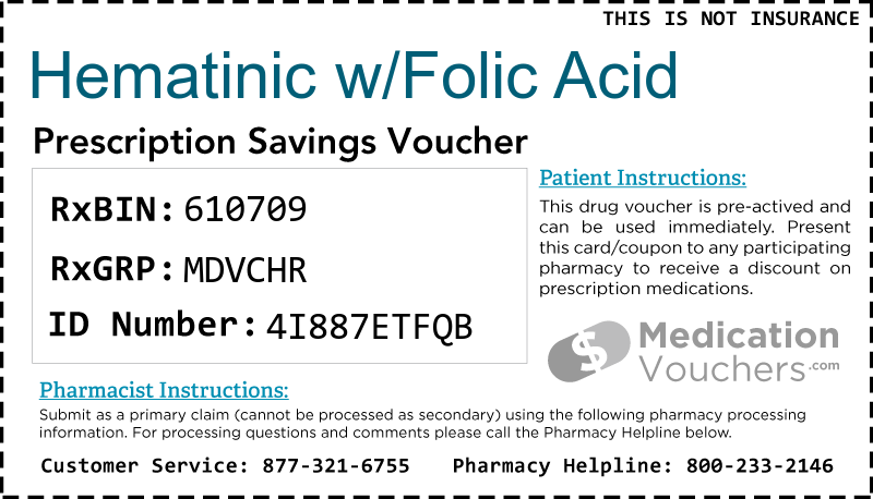 HEMATINIC W/FOLIC ACID Voucher Coupon