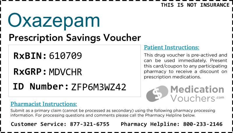OXAZEPAM Voucher Coupon