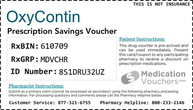 OXYCONTIN Voucher Coupon