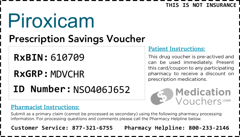 PIROXICAM Voucher Coupon